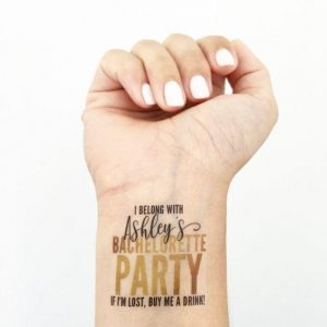 Bachelorette party temporary tattoo with quirky message
